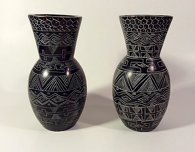 Pair Kenya African Folk Art Carved Soapstone Vases With Sgraffito