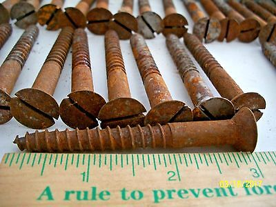 "Large Old Slotted, Flat-Head Wood Screws, Long Thick Ones ! From 2 7/8"" - 3 3/4"""