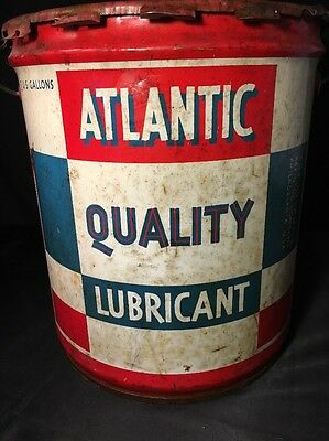 vintage atlantic oil can, Atlantic Quality Lubricant, 5 gallon, USA