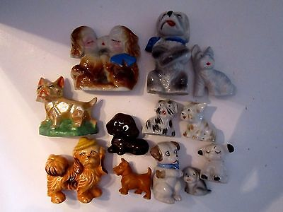 Lot of 12 Porcelain Vintage Dog Figurines. Japan. Mini. Salt Pepper. Various.