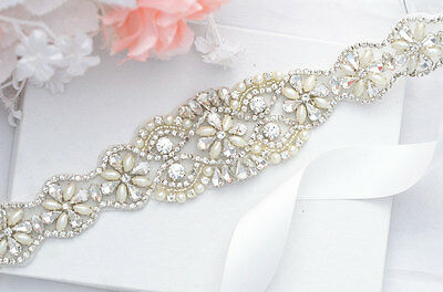 "17"" Wedding Sash Belt - Crystal Pearl Wedding Dress Sash Belt = 17 inch long"