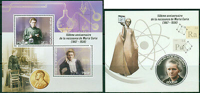 Marie Curie Science Chemistry Physics Nobel Prize Benin MNH stamp set 2 sheets