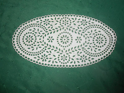 Lovely Oval Linen Doily With Grey Open Work Hand Embroidery, Circa 1920