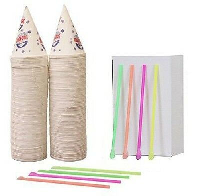 200 Snow Cone Cups 6 Oz and 200 Spoon Straws