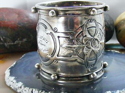 Antique Sterling Silver NAPKIN RING Inscribed From Joseph to Francis 1827 1861