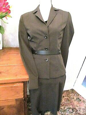 new MNG dark grey green stretch 40s 50s fitted belted  skirt suit size 10