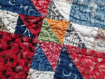 "Antique Cutter QUILT Piece 23"" x 23"" Tiny Pieces, Great Fabrics"