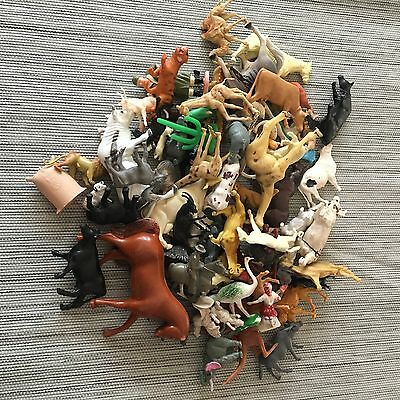 LARGE Vintage Mix Lot Toys Plastic Figures Farm Zoo Animals 75+ B
