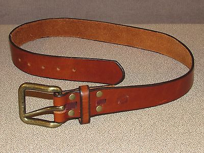 Thick Genuine Brown Leather Cowboy Ranch Jeans Belt Size 32