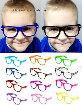 Retro Geek Children Kids Glasses No Lens Free Frames Costume Fancy Dress Party