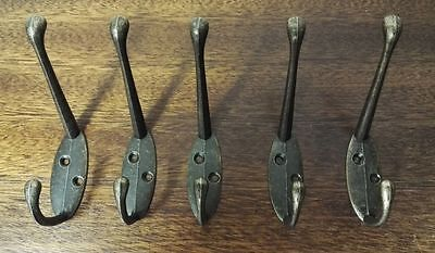 5 X Classic Antique Industrial Cast Iron Style Double Coat Hook Zinc Hanger