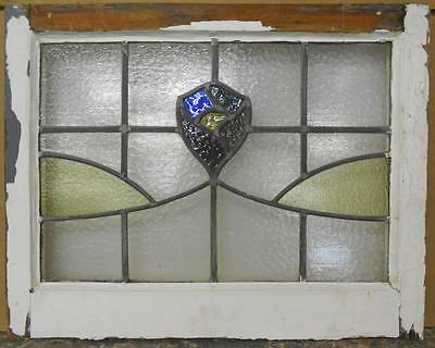 "MID SIZED OLD ENGLISH LEADED STAINED GLASS WINDOW Floral Swag 23"" x 18"""