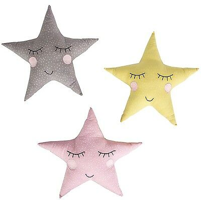 Star Shaped Cushion Pink Yellow Grey Toy Kids Childrens Nursery Bedroom Reward