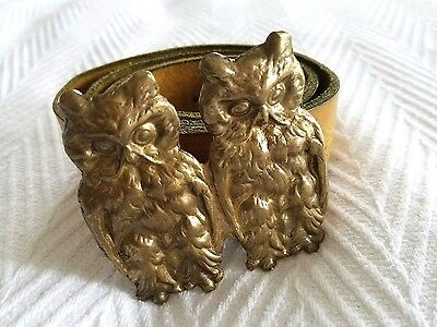 ALKEMIE Jewelry Double Gold Owl Buckle and Vintage Brown Belt $270
