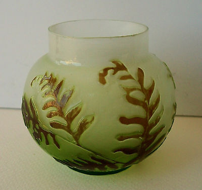 A 1900 Emile Galle Cameo Glass Fire-Polished Cabinet Vase - Ferns - Authentic!