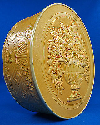 Rare Vintage Smith Crafted Chicago Round Embossed Fruitcake Cookie Tin Box Nice!