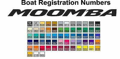 "Moomba Boat Registration numbers Create Your Own ""Matching Font style."""