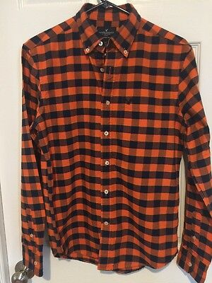 American Eagle Mens Long Sleeve Button Up Casual Shirt plaid Sz Small- Nice!!