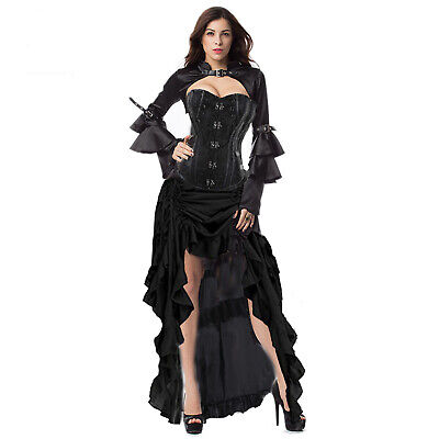 Womens Gothic Boned Black Steampunk Corset Top Costume Plus Size High Quality