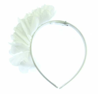 White Ruffle flower headband, Bridesmaids, Party