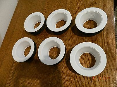 4 Inch Recessed Can Light Trim with White Metal Step Baffle - Pack of 6 - New