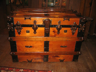 Antique 1800 Restored Slat Flat Top Steamer Trunk Stage Coach Chest Coffee Table