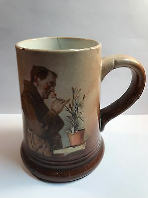 Antique Hand Painted Tankard Handle Mug Monk Smelling Flowers