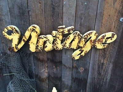 "Metal Large Font Sign ""Vintage"" Retro  Yellow  Blend & Rusty Patina- Industrial-"