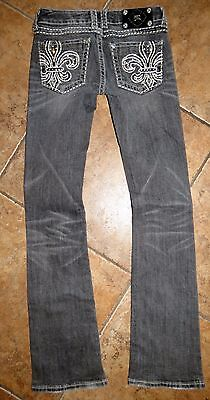 Women's Miss Me Boot Cut Buckle Bling Thick Stitched Denim Jeans 26 27x33