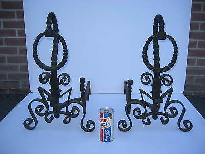 Antique Hand-Forged Twisted Wrought Iron Fireplace Andirons