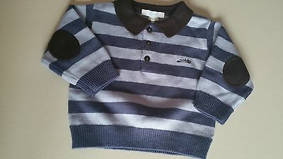 JACADI 6 months baby boy blue striped knit sweater French boutique new winter nb