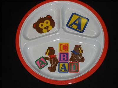 Kids Melamine Divided Dinner Plate Small Fry Originalabc With Bears