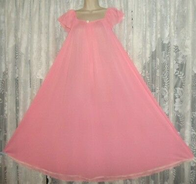 Vtg MISS ELAINE CLASSICS Rich PINK BUTTER SOFT Nightgown Negligee Gown XL++