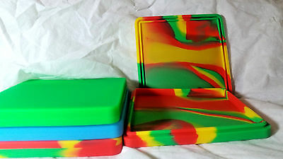 """Large Silicone Dab Mat Container With Cover:  8x8x3/4"""""""