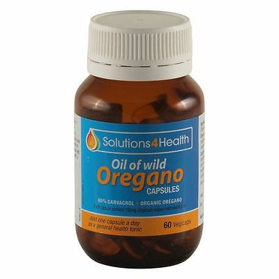 SOLUTIONS 4 HEALTH Oil of Wild Oregano 60 capsules 100mg High Caracrol Organic