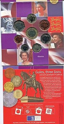 2002 United Kingdom Brilliant Uncirculated Coin Collection 8 coins Original Pack