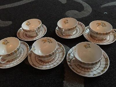 Set Of 6. Spode Buttercup Tea Cups and Saucers