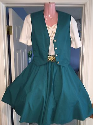 Square Dance 3 Pc Green And White Vest, Top & Skirt -Small