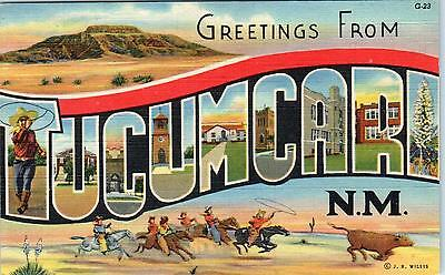 TUCUMCARI, NM New Mexico   LARGE LETTER LINEN  1949  Postcard A Rt 66 Town