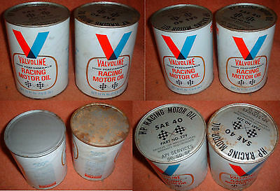 VINTAGE-Valvoline-High-Performance Racing Motor Oil-2 Full-Cans Can SAE 40