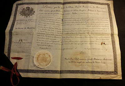 1819 King Louis XVIII Signature Letters of Knight of the Royal & Military Order