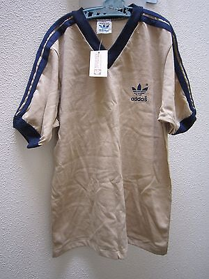 New Retro Vintage Adidas Trefoil T Shirt Tee Size Large 16 18 Beige Blue Soccer