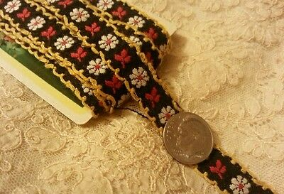 3 Yards Vintage Dolls Brocade Ribbon Trim Cotton Black Red Yellow Wht