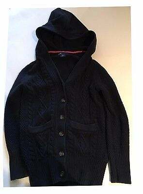 GAP KIDS~GIRL'S CABLE KNIT SWEATER JACKET w/ HOOD-Size Small 6-7 Navy Blue-GUC