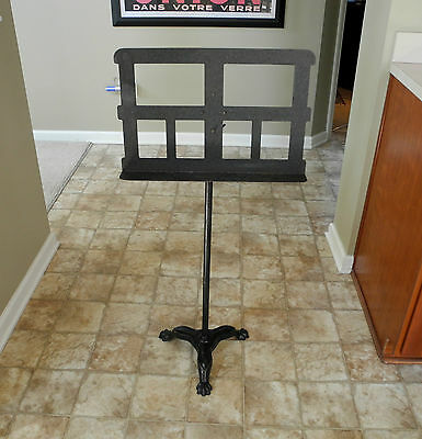 1890 Vintage Antique Claw Foot Base Black Enamel Cast Iron Music Stand Art Easel