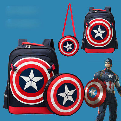 Kids Children Boys Girls Stuffed Captain America Cartoon School Bag Backpack