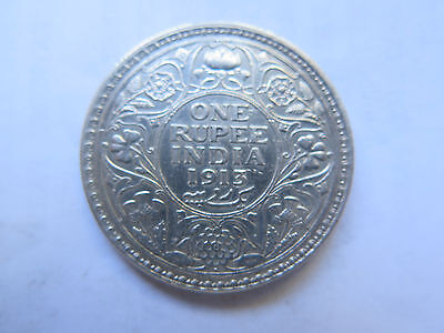 1913 INDIA SILVER 1 RUPEE in EXCELLENT CONDITION KING GEORGE V
