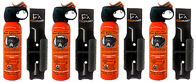 Lot of 4 - UDAP Pepper Power Bear Spray Repellant w/ Griz Guard Holster