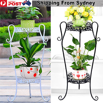 2Tier Iron Plant Flower Pot White Black Metal Stand Holder Folding Garden Stands