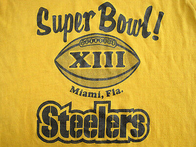 SOFT!! 1979 vtg PITTSBURGH STEELERS superbowl GOLD T SHIRT 50/50 70s nfl SMALL